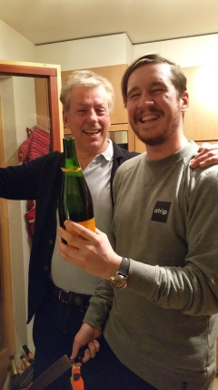 Donald shows Tommy how to decapitate a champagne bottle