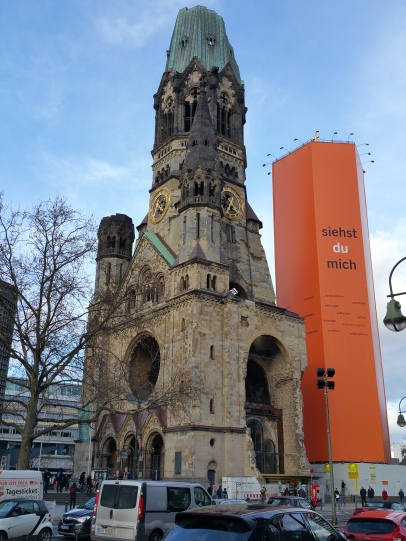 The bombed remains of the Church in Kufurstendamm church, opposite Hermann Ungar's apartment
