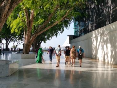 Walking through the mosque courtyard