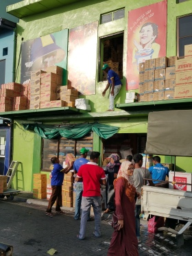 Boxes being chucked out of the window