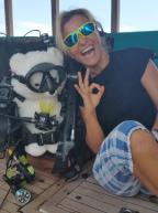 Franchi with her polar bear buddy!