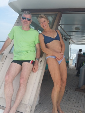 Ross with Hetty, one of our dive buddies