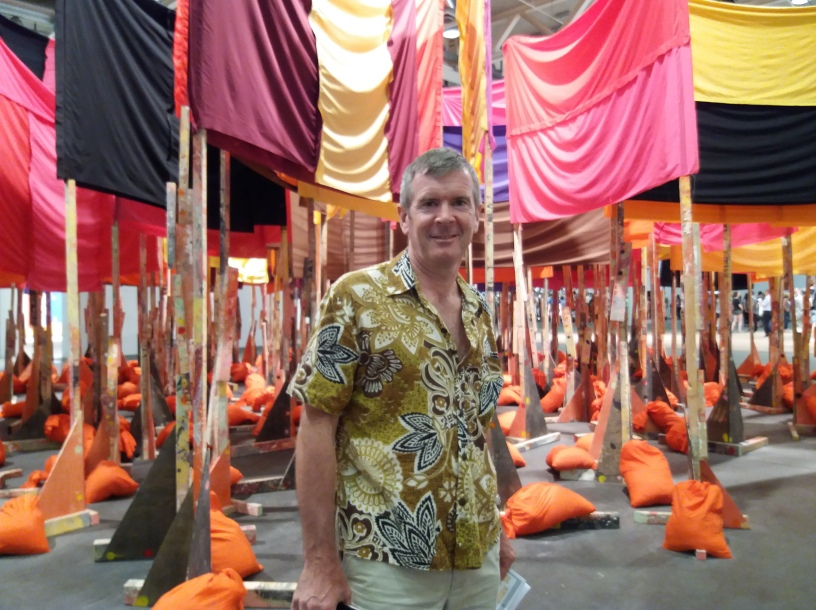 Ross in front of Phyllida Barlow