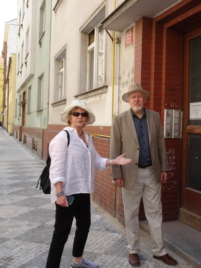 Outside the building that replaced the grandparents house in Smichov