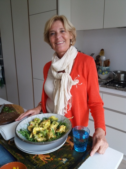 Christine with her saffron chicken salad