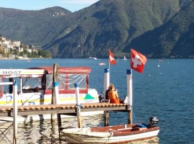 Swiss flags fluttering in the breeze