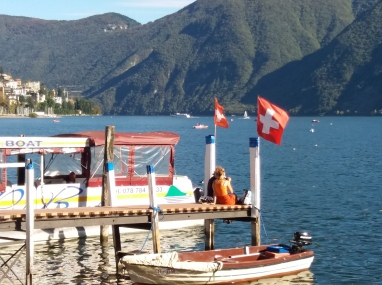 Swiss flags fluttering in the breeze