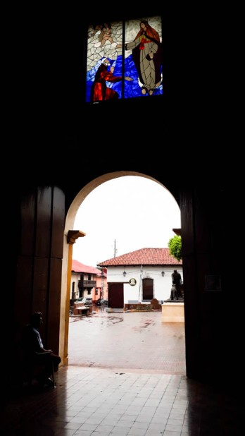 Looking out of the oldest church, La Recoleccion,(1746)st Church