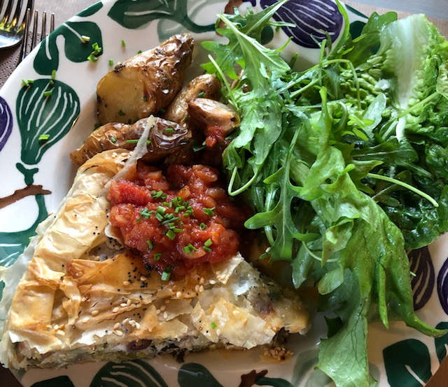 Courgette and filo tart with mizuna and rocket