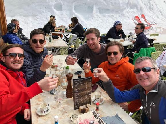 Meeting up with TOmmy's mates - Freddie, HAry, James and Ross joins in with the grappa