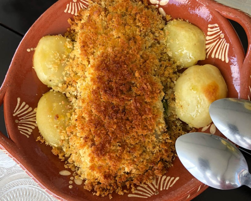 Bacalao (salt cod) with a savoury crumb on spinach