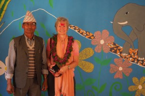 With the Principal in the newly painted Kindergarten