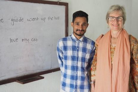 Vicky with scholar Ashish at Heluabesi School