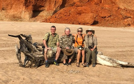 in the dry river bed: Ross, Cindy, me, Jane