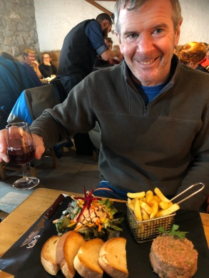 One wet Ross enjoys his restorative wine (and lunch!)