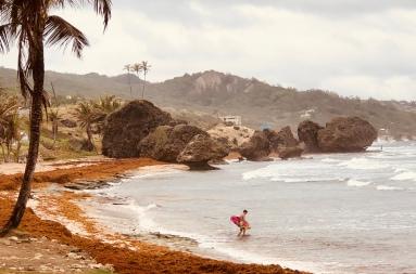 A surfer ventures out