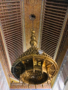 Ornate vaulted ceiling with brass lamp