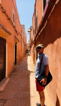 The tall narrow street of the Mellah