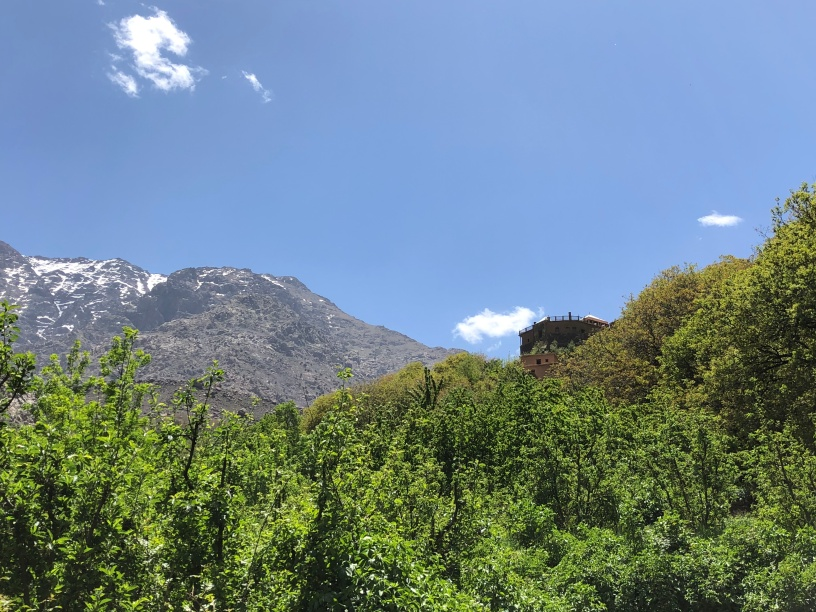 The Kasbah du Toubkal looms above us