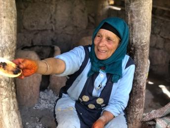 Berber woman making bread