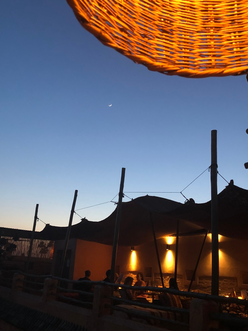 The Ramdan moon rises over the Riad el Fenn