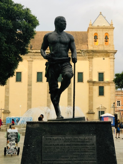 A statue to Zumbi who provided shelter for escaped saes until he was captured and beheaded in 1695