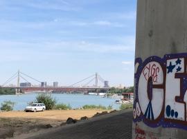 Graffiti and desolate landscape