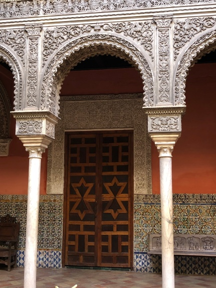 Ornate stucco columns