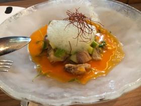 Seabass ceviche in carrot gazpacho