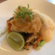 Tempura hake with a paprika foam