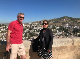 Ross with Jackie on the walls of the Alcazaba