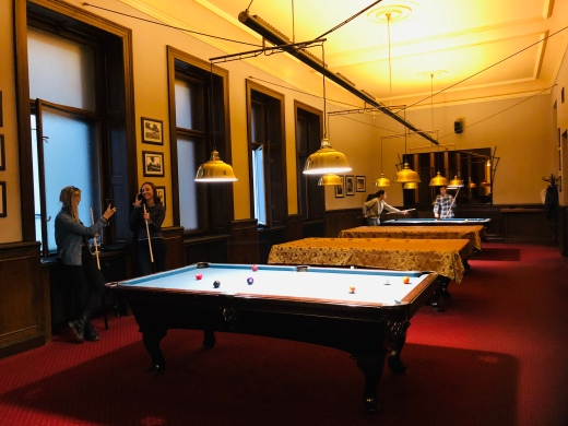 The billiard room has not changed since 1920