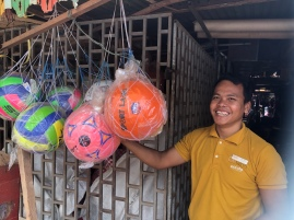 Buying footballs for our school on the way back from Beng Mealea $7