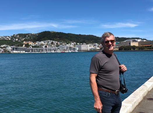 On the wharf - Te Papa on Ross's left shoulder