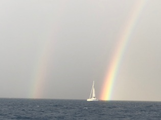 Rainbow...the only boat we saw!
