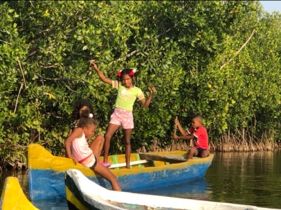 Kids. In the lagoon