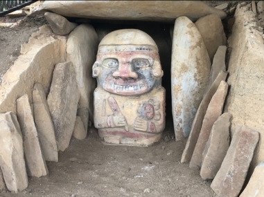 Rare painted statues 3600BC in front of tombs