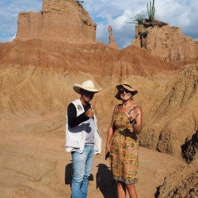 """Vicky with """"Juan Tatacoa"""" in the Tatacoa desert"""