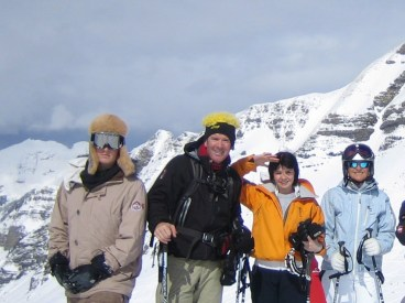 One of the only photos of all four of us, in Champery