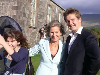 At Missy's wedding in Scotland