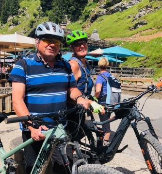 on their bikes...